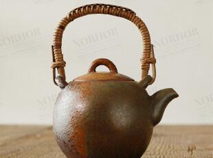 北欧表情北欧表情/手工陶艺/禅意东方/金泽铁釉竹柄提梁壶,茶具,