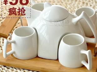 宜家简约时尚创意 北村穗白色陶瓷整套茶具 茶杯茶壶茶盘6件套装,茶具,