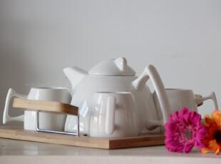 外贸尾单 宜家简约 竹制托盘纯白陶瓷茶具6件套-1茶壶4茶杯1茶盘,茶具,