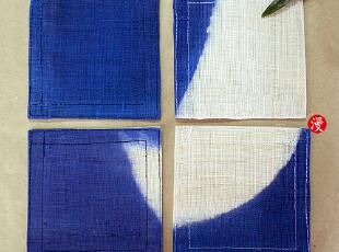 手工编织纯麻布 壶垫 杯垫 一套4个 深蓝色,茶具,