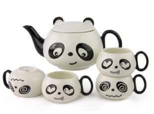 日日和创意陶瓷器熊猫茶具套装红茶普洱花茶套装礼品实用茶杯包邮,茶具,