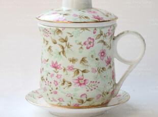 预售3周 独家-荞麦花骨瓷情侣茶具 陶瓷水杯 过滤 茶杯 杯子,茶具,