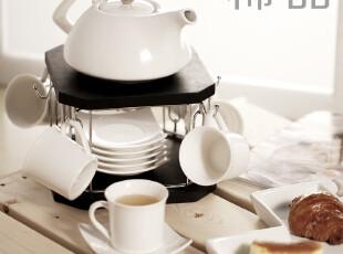 陶瓷茶具茶杯茶盘套装 实木托茶具套件 下午茶欧式简约纯色茶具,茶具,