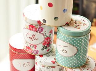 出口订单 花卉水玉系列 圆筒铁盒茶叶罐 特,茶具,