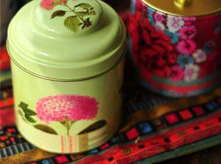 花卉双盖茶叶罐 茶叶罐|花茶罐|双层绝佳密封|铁皮收纳罐|两款选,茶具,