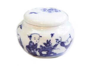 【长物志】婴戏图青花骨瓷茶叶罐(50g),茶具,