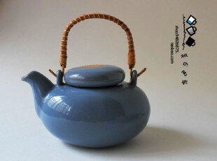 蓝色简约 日式陶瓷 茶壶 花草茶具凉水壶提梁壶 日式茶壶单壶800g,茶具,