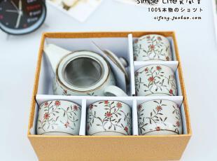 景德镇陶瓷器 日式和风 6头青花茶壶茶杯 陶瓷茶具 套装 功夫茶具,茶具,