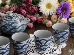 日式 餐具 四季梦彩 古雅 茶具 茶杯 茶壶 茶道 套装 6入 鲤鱼,茶具,