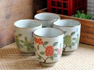 千度悠品 日式和风 陶瓷 餐具 茶具 红绿菊花 4入汤吞 礼盒套装,茶具,