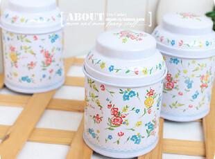 乱花迷眼。小只 收纳罐 茶叶罐 棉签盒。白底繁花款,茶具,