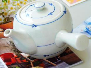 出口日单陶瓷茶具 景德镇釉下彩青花传统白瓷古风 日式横握柄茶壶,茶具,