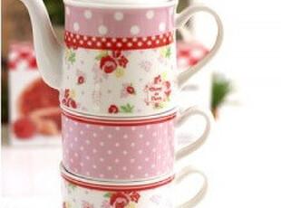 ★公主梦想★来自日本*Tea For Two*玫瑰点点浪漫茶具组M1889粉,茶具,