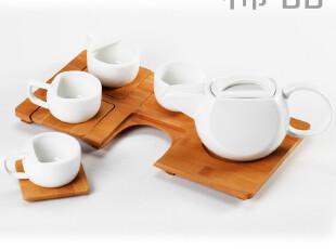 稀品 日式创意陶瓷家用茶具茶杯整套装 木制托盘拼接时尚茶壶茶杯,茶具,