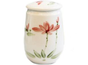 【长物志】白裂荷花手绘骨瓷茶叶罐250g,茶具,