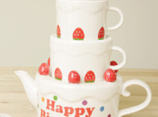 「韩居屋」草莓蛋糕情侣水壶套装 韩国进口茶壶茶杯带茶隔PU044,茶具,