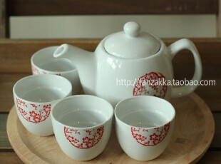Fan's zakka杂货 日式和风五件套茶具套装礼盒(梅花),茶具,