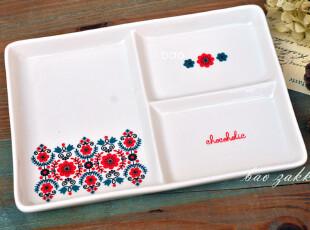 BAO ZAKKA 杂货 北欧小红花 陶瓷 3格 托盘 茶盘 点心盘,茶具,