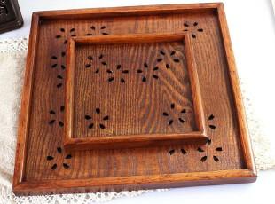 搭配促销 正方形木制茶盘 日式镂空樱花木托盘 大小号套装盘,茶具,