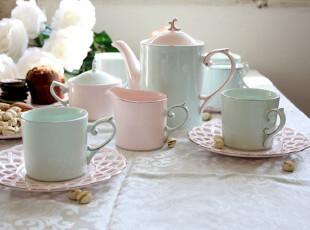 奉华堂圣诞礼物-粉色镂空陶瓷茶具套装 咖啡壶 咖啡杯子 整套茶具,茶具,