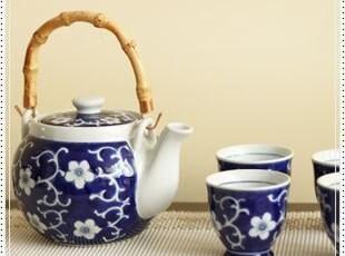 特价出口日本青花瑰蓝手绘梅花特大号提梁茶壶茶具五入套装有滤网,茶具,