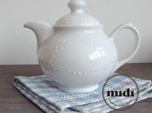 德国品牌 原单 浮雕白瓷 欧式茶壶,茶具,