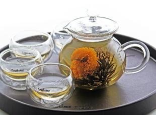 teatime悠悠假日花草茶具 含玻璃花茶壶双层茶杯 礼品茶盘 套装,茶具,