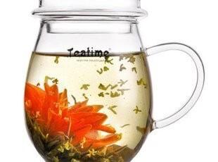 teatime茶具 耐热玻璃花草茶杯 带盖加厚透明玻璃水杯 茶杯 伊芳,茶具,