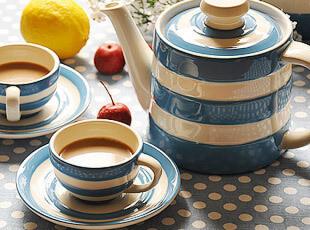 康沃尔蓝色的大海 陶瓷 茶壶套装 餐具套装 9件套,茶具,