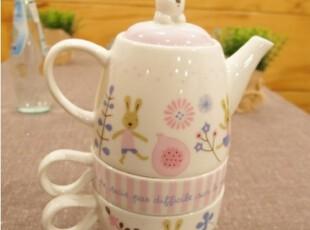 ㊣U-DAY韩国代购-KI㊣可爱卡通粉色兔子下午茶陶瓷茶壶茶杯套装,茶具,