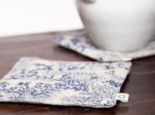 O2氧气生活 青花亚麻茶壶垫,茶具,