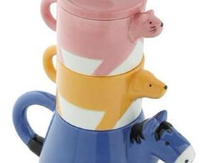 *Samyo美国代购 创意生活 超可爱的瓷质可爱动物茶壶茶杯组,茶具,