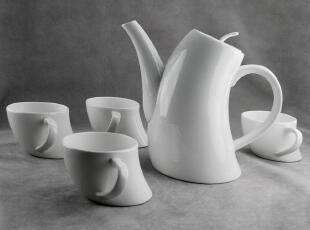 出口欧洲原单手工创意骨瓷咖啡茶具 茶杯子茶壶五件礼品套装 乙橘,茶具,
