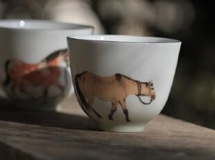 【小茶禪堂】獨坐茶堂 —— 《蕭蕭馬鳴》 純手繪 對杯,茶具,