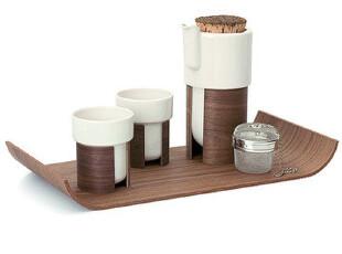 芬兰Tonfisk Warm系列 下午茶茶具 软木+陶瓷 四件套礼盒 2色选1,茶具,