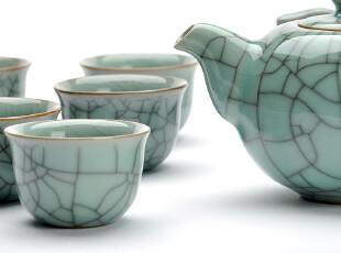 F3002 龙泉窑 开片紫口铁足 梅子青 双鱼瓷莊 陶瓷茶具套件,茶具,