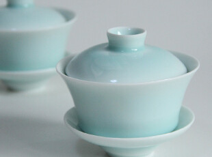 【雅集堂】手工雕刻青瓷盖碗 功夫茶盖碗 影青瓷 莲花雕刻,茶具,