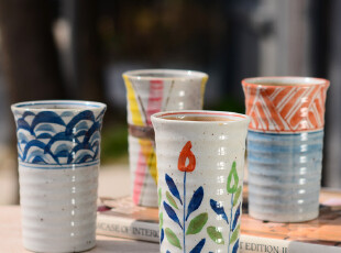 7折包邮 奇居良品 京瓷手绘陶瓷啤酒杯茶具水杯子套装 直筒杯,茶具,