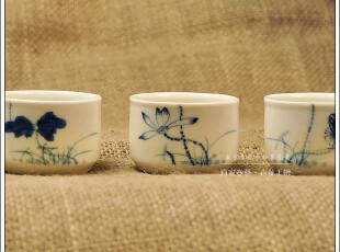 青花陈㊣『荷香四境直口杯』手绘青花茶杯,45元/颗 茶具茶杯,茶具,