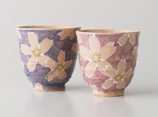 日本代购: 从来佳茗似佳人 有田烧 一珍染桜 夫妇茶杯 套装,茶具,