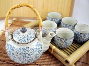 Kingda:日式陶瓷和风餐具 蓝碎花 茶壶+茶杯 茶具套装礼盒,茶具,