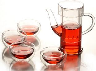 mxmade特价手工玻璃茶具整套耐热花茶壶功夫茶具简约大方250ml,茶具,