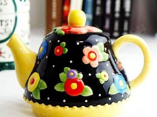 外贸手绘陶瓷 田园风 可爱花朵浮雕 小茶壶,茶具,