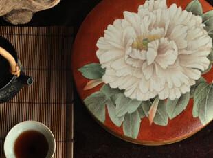 【东游记.手做瓷】拉坯手绘宋代工笔大牡丹 普洱茶饼扁瓷罐 已定,茶具,