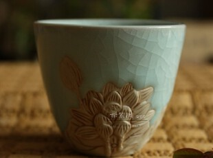 功夫茶具 茶杯 陶瓷 龙泉青瓷茶具 浮雕雪莲杯 汝窑可选,茶具,