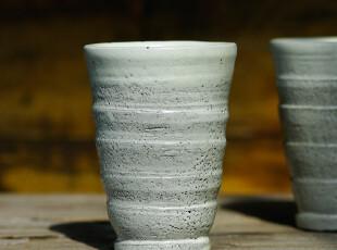 北欧表情/手工陶艺/禅意东方/岩森米釉手工螺纹高杯/花器,茶具,