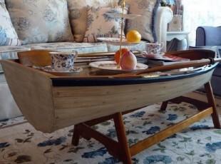深苒雅舍美式地中海风格,海洋风船型船形茶几,咖啡桌,带双桨尾舵,茶几,