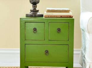 奇居良品 中式乡村实木家具抽屉柜储物箱 锦廷系列边几柜绿色,茶几,