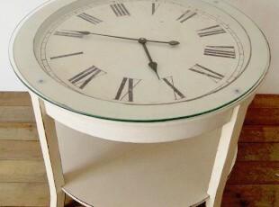 [多美生活]家具新品美式复古白色圆形带时钟茶几桌几木茶桌,茶几,
