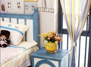 2012地中海田园普罗旺斯蓝白相间浪漫儿童床头柜 实木家具可定制,衣柜,